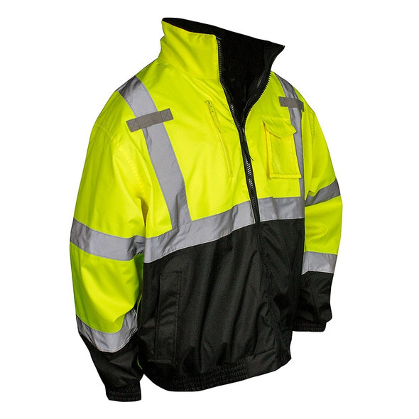 Radians Class 3 Hi Vis Green Black Bottom 3-in-1 Bomber Jacket SJ210B-3ZGS Front