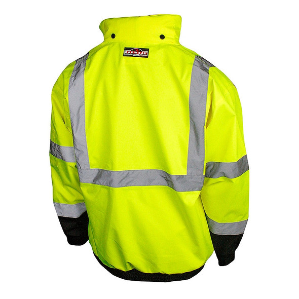 Radians Class 3 Hi Vis Green Black Bottom 3-in-1 Bomber Jacket SJ210B-3ZGS Back