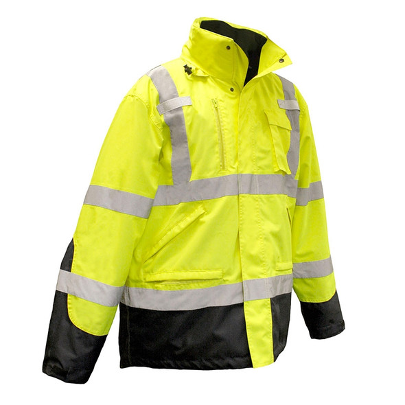 Radians Class 3 Hi Vis Green Black Bottom 3-in-1 Winter Parka SJ410B-3ZGS Front