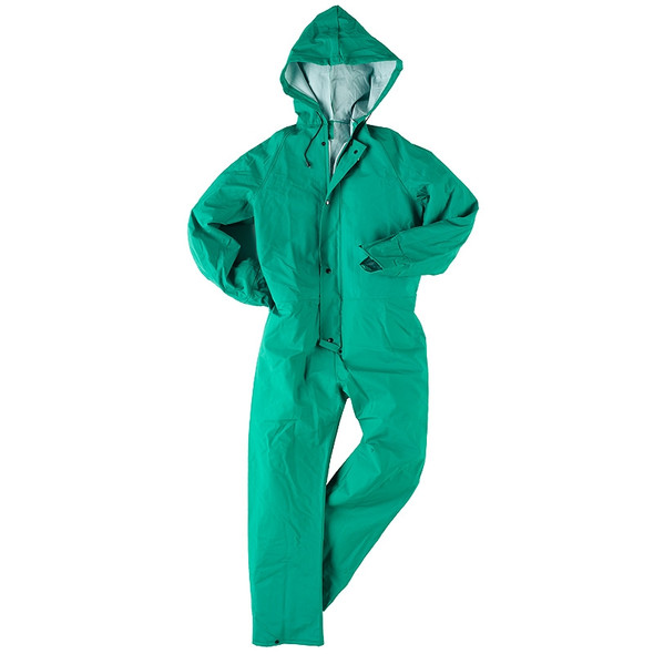 Neese I96ACA Green Industrial Splash Coveralls with Attached Hood 10096-50 Suit