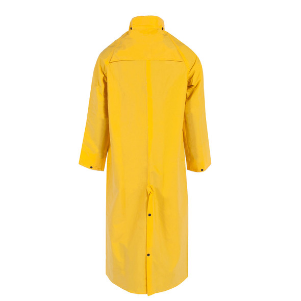 "Neese Non-ANSI Hi Vis Yellow 1790C 60"" Full Length Raincoat with Snap On Hood 10179-31 Back"