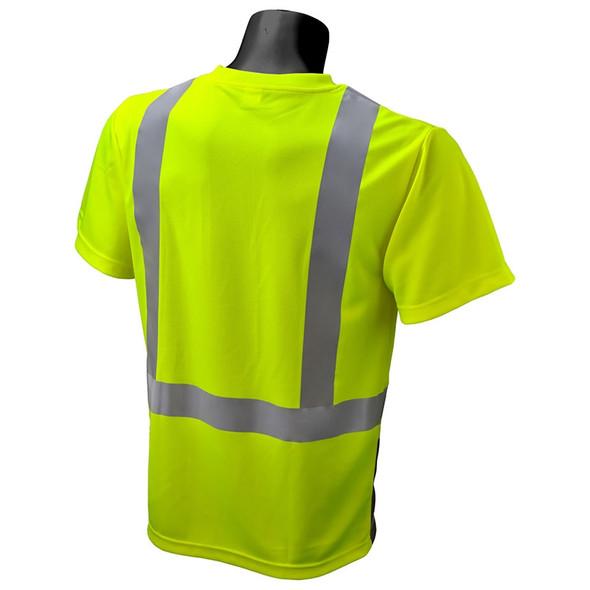 Radians Class 2 Hi Vis Green Black Bottom Moisture Wicking T-Shirt ST11B-2 Back