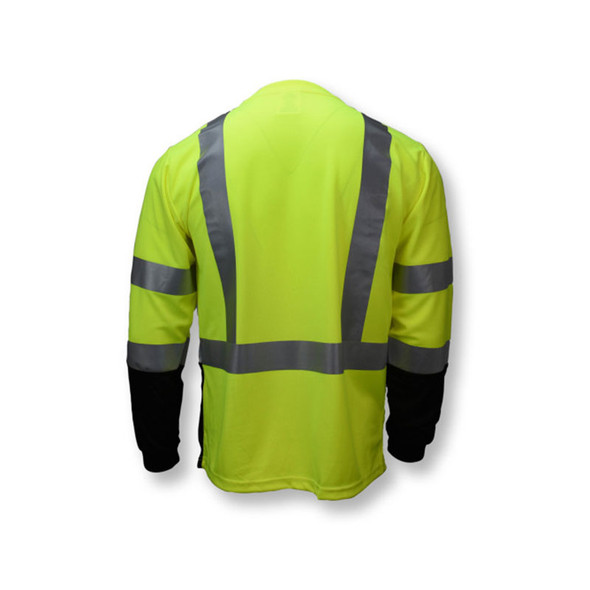 Radians Class 3 Hi Vis Green Black Bottom Long Sleeve T-Shirt ST21B-3PGS Back