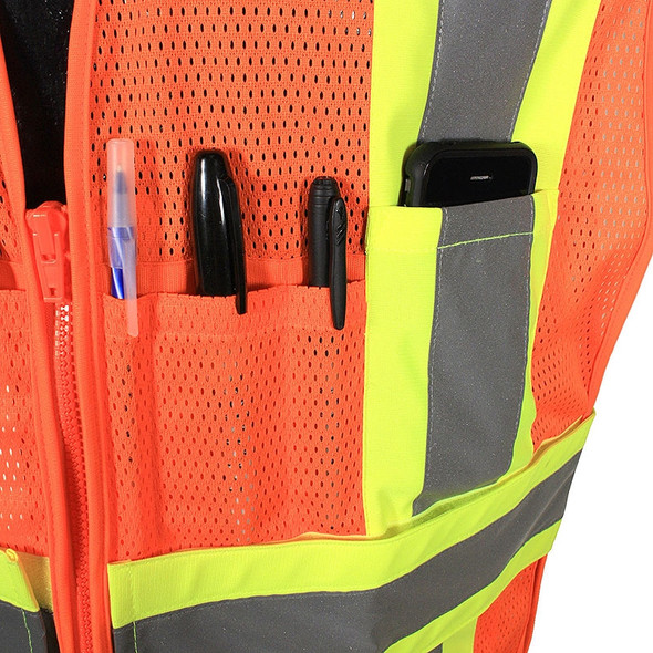 Radians Class 2 Hi Vis Mesh Breakaway Expandable Safety Vest SV24-2ZOM Orange Pen Pocket