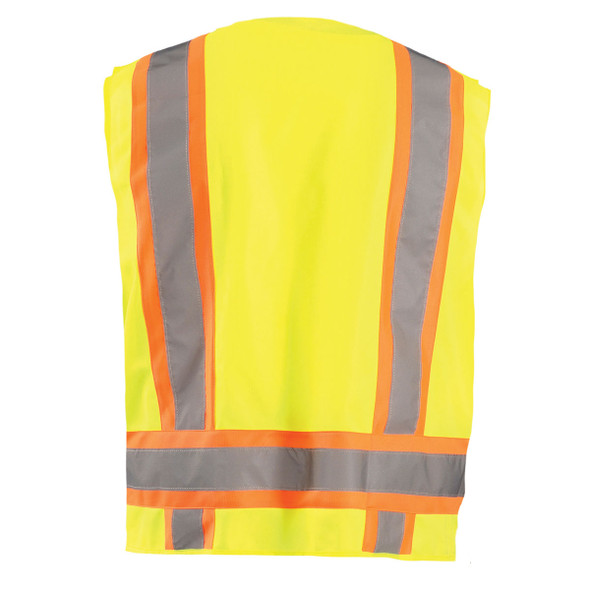 Occunomix Class 2 Hi Vis 8 Pocket Surveyor Vest ECO-ATRANS Yellow Back