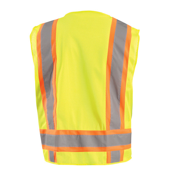 Occunomix Class 2 Hi Vis Two-Tone 10 Pocket Mesh Surveyor Vest ECO-ATRNSM Yellow Back