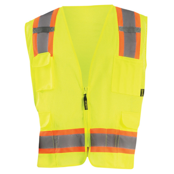 Occunomix Class 2 Hi Vis Two-Tone 10 Pocket Mesh Surveyor Vest ECO-ATRNSM Yellow Front