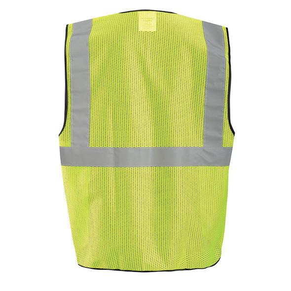 Occunomix Class 2 Hi Vis Economy Mesh Surveyors Vest with 12 Pockets ECO-GCS Yellow Back