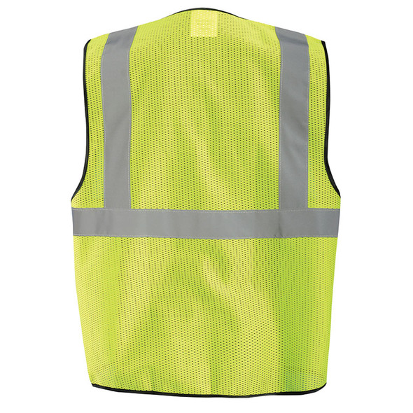 Occunomix Class 2 High Visibility Economy Mesh Zipper Front Vest ECO-GCZ Yellow Back