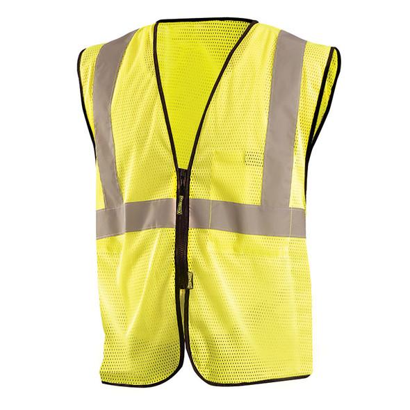 Occunomix Class 2 Hi Vis Economy Mesh Zipper Front Vest ECO-GCZ Yellow Front
