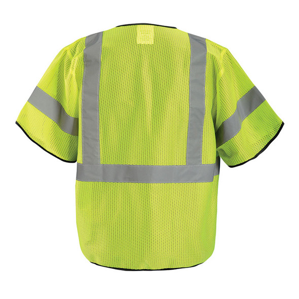 Occunomix Case of 50 Class 3 Hi Vis Zipper Front Mesh Safety Vests ECO-GCZ3-CASE Yellow Back