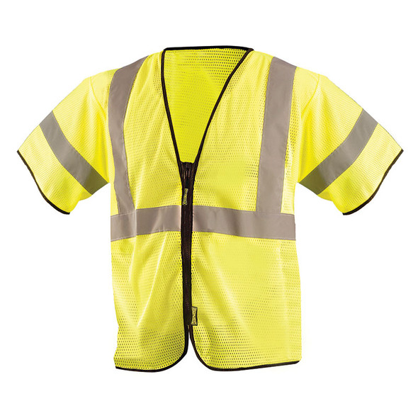 Occunomix Case of 50 Class 3 Hi Vis Zipper Front Mesh Safety Vests ECO-GCZ3-CASE Yellow Front