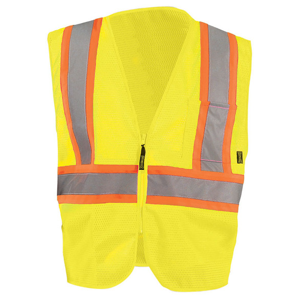 Occunomix Class 2 Hi Vis Mesh Two-Tone Economy Safety Vest ECO-IM2TZ Yellow Front