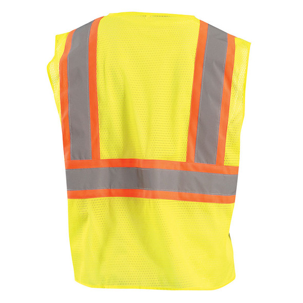 Occunomix Class 2 Hi Vis Mesh Two-Tone Economy Safety Vest ECO-IM2TZ Yellow Back