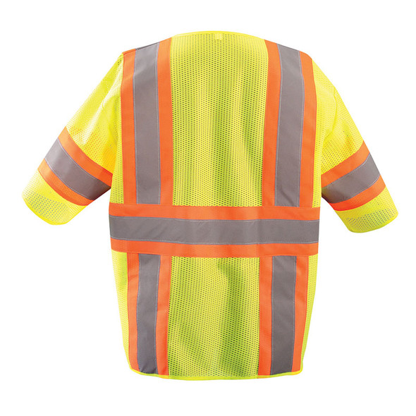 Occunomix Class 3 Hi Vis Economy Two-Tone Mesh Safety Vest ECO-IMZ32T Yellow Back