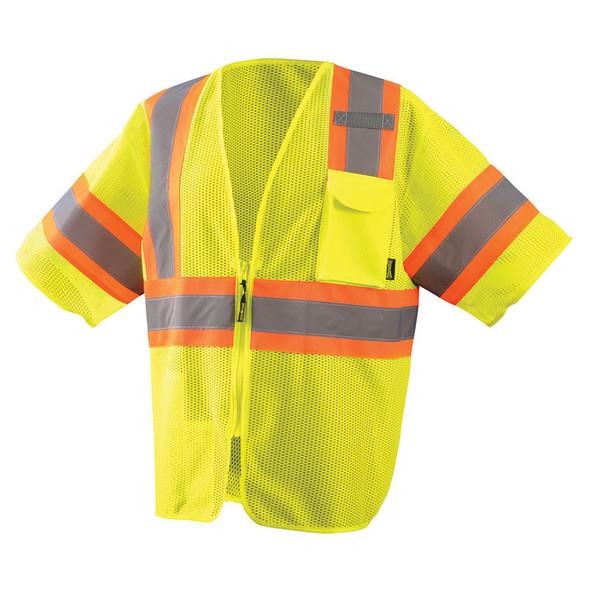 Occunomix Class 3 Hi Vis Economy Two-Tone Mesh Safety Vest ECO-IMZ32T Yellow Front