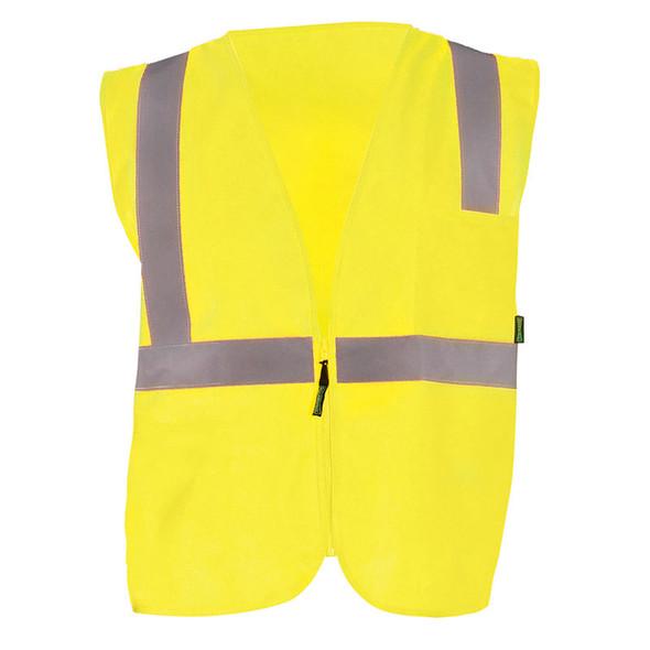 Occunomix Class 2 Hi Vis Economy Zipper Vest ECO-ISZ Yellow Front