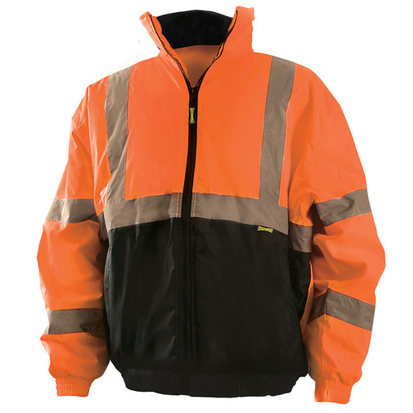 Occunomix Class 3 Hi Vis Black Bottom Safety Bomber Jacket LUX-250-JB-B Orange Front