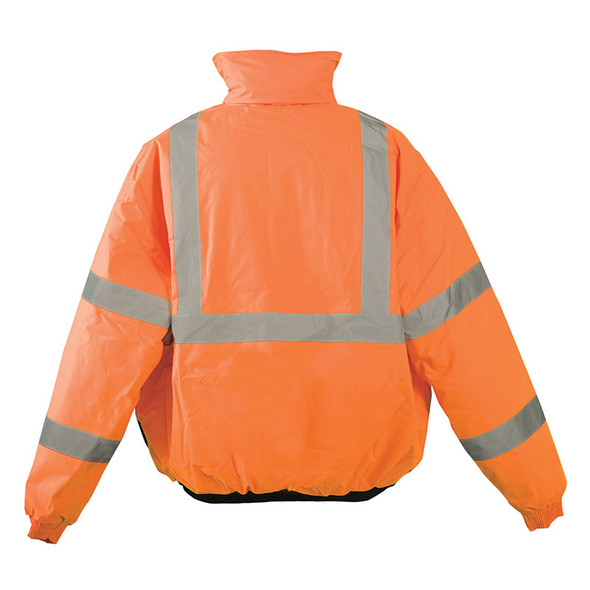 Occunomix Class 3 Hi Vis Black Bottom Bomber Jacket LUX-250-JB-B Orange Back