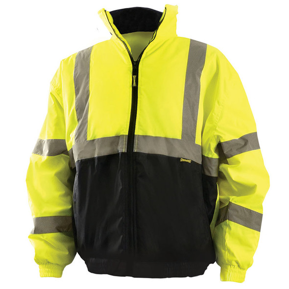 Occunomix Class 3 Hi Vis Black Bottom Bomber Jacket LUX-250-JB-B Yellow Front