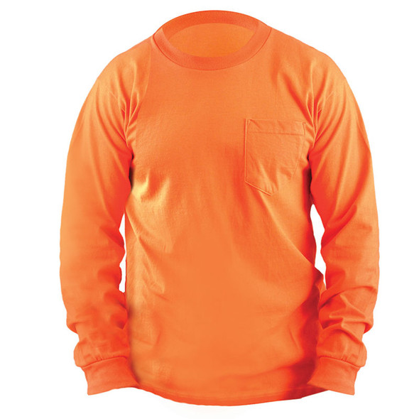 Occunomix Non-ANSI Enhanced Vis Classic Cotton Made in USA Long Sleeve T-Shirt with Pocket LUX-300LP Orange Front