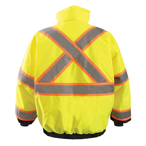 Occunomix Class 3 Hi Vis X Back Black Bottom Bomber Jacket LUX-350-B2X Yellow Back