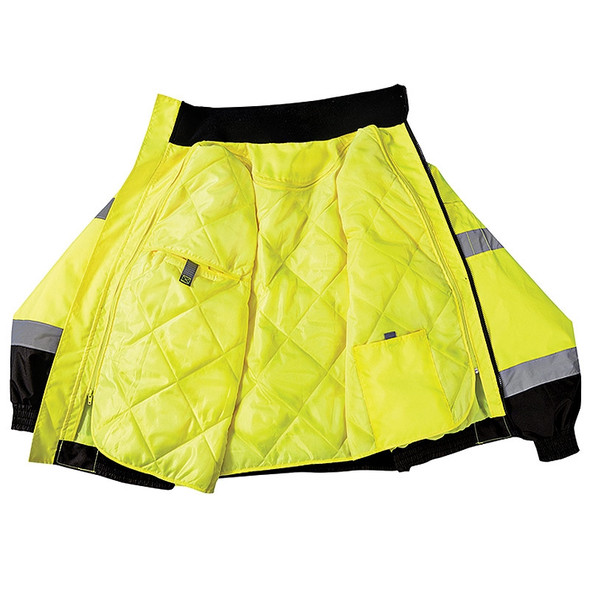 Occunomix Class 3 Hi Vis 2-in-1 Black Bottom Bomber Jacket LUX-350-JB-B with Liner