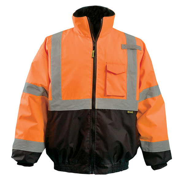 Occunomix Class 3 Hi Vis 2-in-1 Black Bottom Bomber Jacket LUX-350-JB-B Orange Front