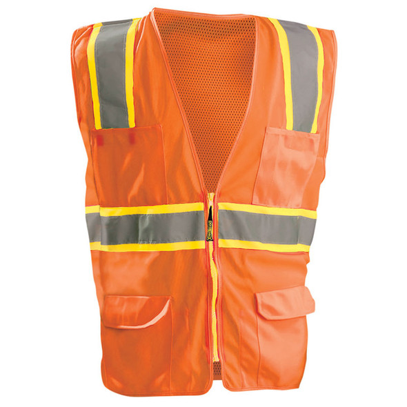 Occunomix Class 2 Hi Vis Tricot Mesh 10 Pocket Surveyors Vest LUX-ATRNSM Orange