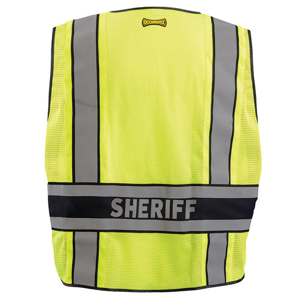 Occunomix Class 2 Hi Vis Yellow Sheriff Public Safety DOR Vest LUX-DPSS-DOR Back