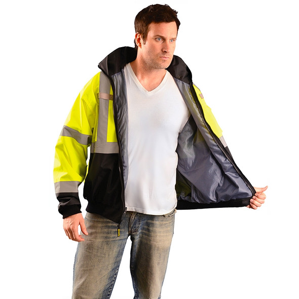 Occunomix Class 3 Hi Vis Yellow 3-in-1 Black Bottom Bomber Jacket LUX-ETJBJR Inside