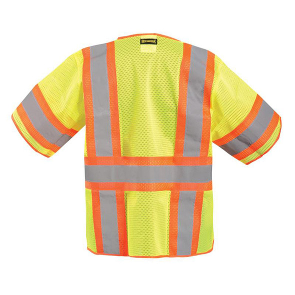 Occunomix Class 3 Hi Vis Yellow Zipper Front Economy Safety Vest LUX-HSCLC3Z Back