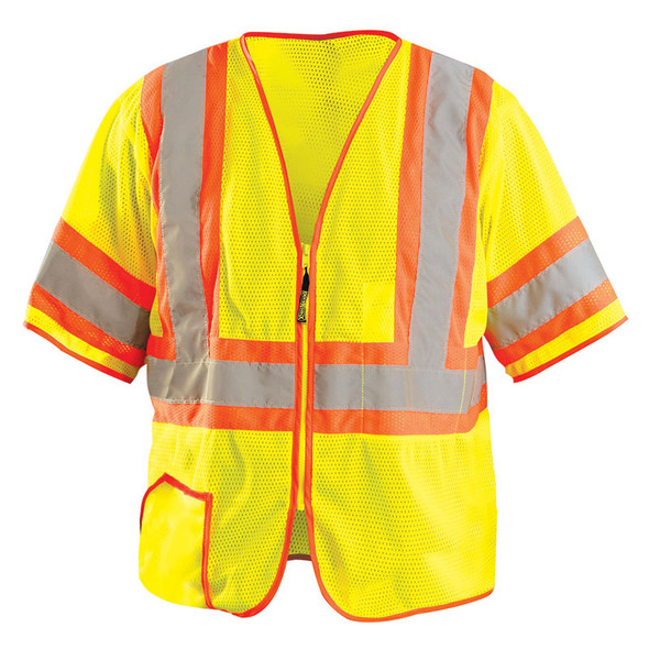 Occunomix Class 3 Hi Vis Yellow Zipper Front Economy Safety Vest LUX-HSCLC3Z