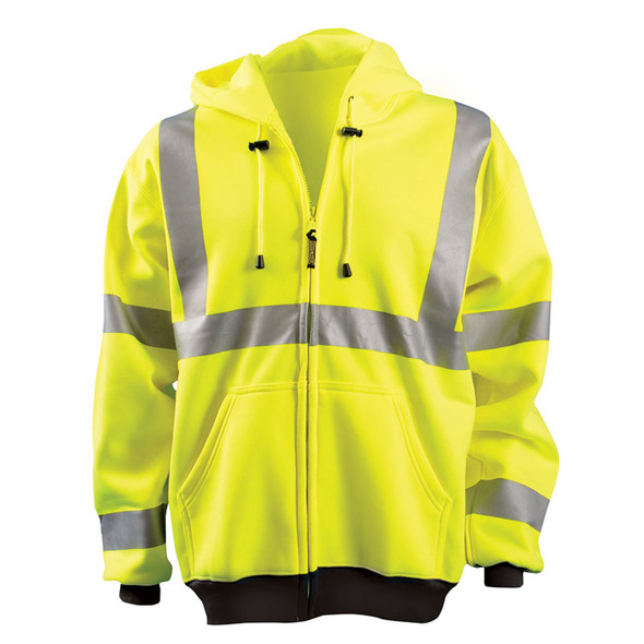 Occunomix Class 3 Hi Vis Full Zip Up Hooded Sweatshirt LUX-HZSWT Yellow Front