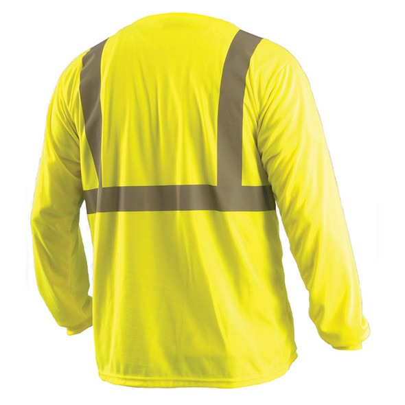 Occunomix Class 2 Hi Vis Moisture Wicking Birdseye Long Sleeve T Shirt LUX-LSET2B Yellow Back