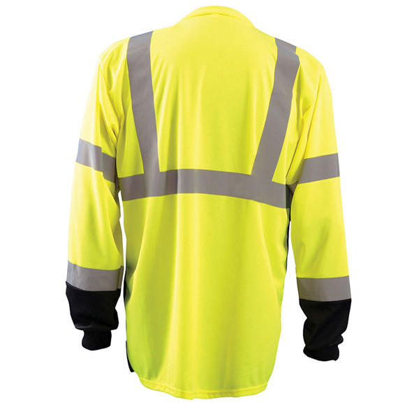Occunomix Class 3 Hi Vis Black Bottom Moisture Wicking Long Sleeve T-Shirt LUX-LSETPBK Yellow Back