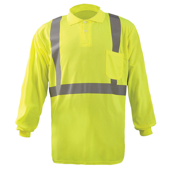 Occunomix Class 2 Hi Vis Moisture Wicking Long Sleeve Polo Shirt LUX-LSPP2B Yellow Front