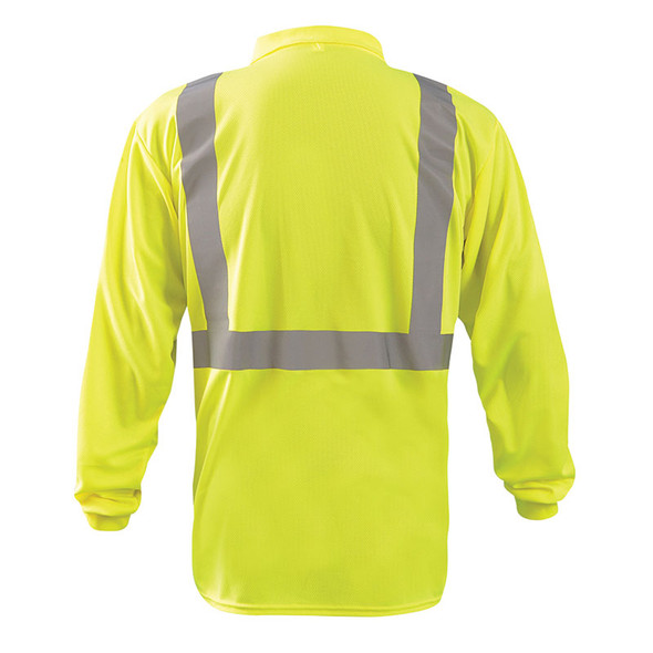 Occunomix Class 2 Hi Vis Moisture Wicking Long Sleeve Polo Shirt LUX-LSPP2B Yellow Back
