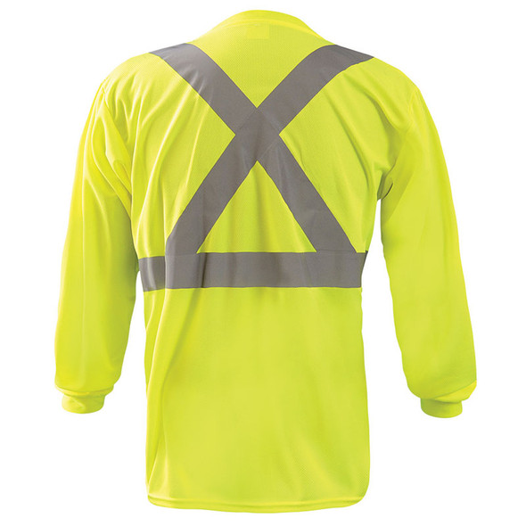 Occunomix Class 2 X-Back Hi Vis Moisture Wicking Long Sleeve T-Shirt LUX-LST2BX Yellow Back