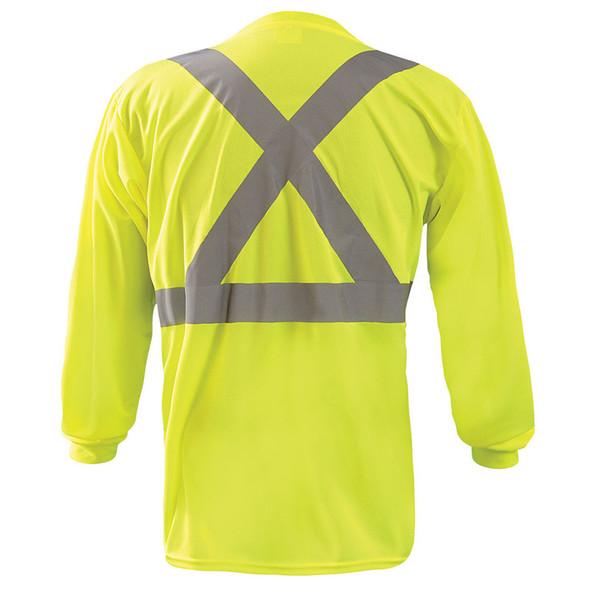 Occunomix Class 2 X-Back Hi Vis Moisture Wicking Long Sleeve T-Shirt LUX-LST2BX Yellow Back
