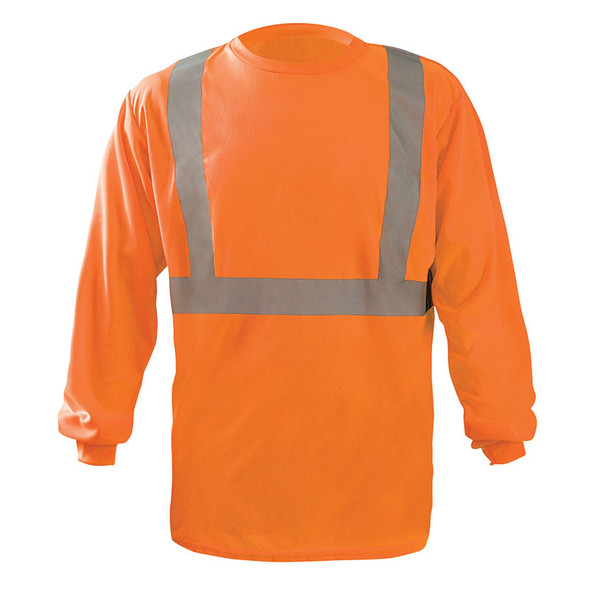 Occunomix Class 2 X-Back Hi Vis Moisture Wicking Long Sleeve T-Shirt LUX-LST2BX Orange Front