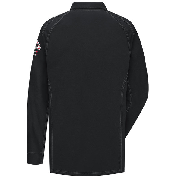 Bulwark FR iQ Series Comfort Knit Long Sleeve Polo QT12 Black Back