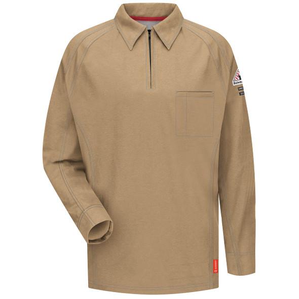 Bulwark FR iQ Series Comfort Knit Long Sleeve Polo QT12 Khaki Front