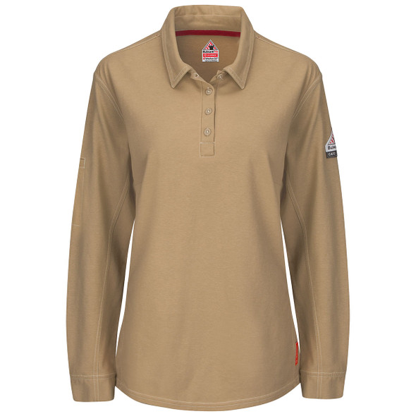Bulwark FR iQ Series Comfort Knit Womens Long Sleeve Polo QT15 Khaki Front