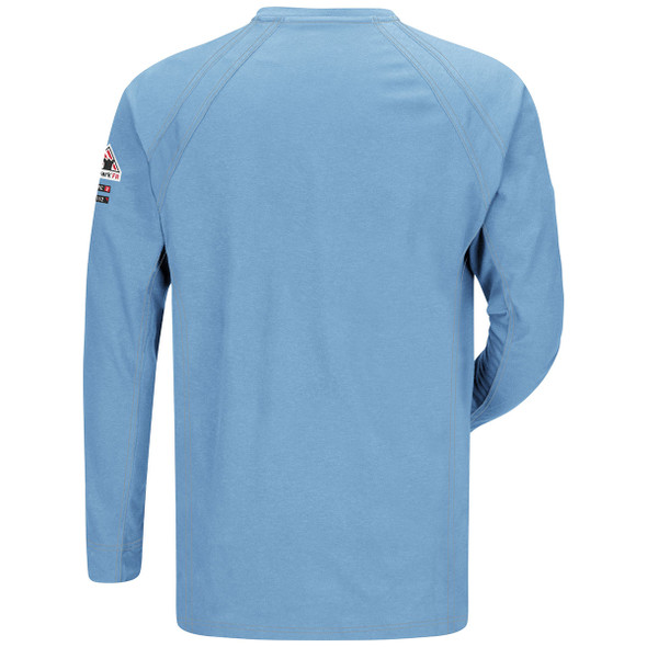 Bulwark FR iQ Series Comfort Long Sleeve Henley QT20 Light Blue Back