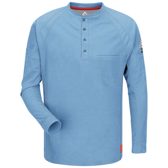 Bulwark FR iQ Series Comfort Long Sleeve Henley QT20 Light Blue Front