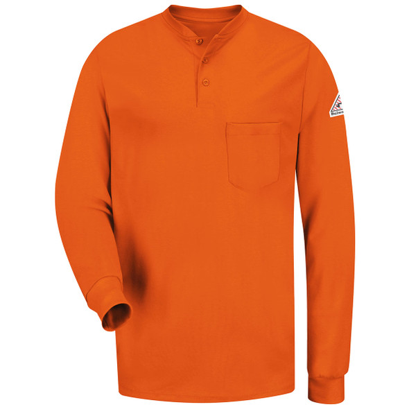 Bulwark FR 6.25 oz. Excel Henley Shirt SEL2 Orange Front