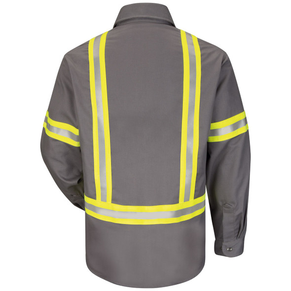 Bulwark FR Enhanced Visibility Uniform Shirt ComforTouch SLDT Gray Back