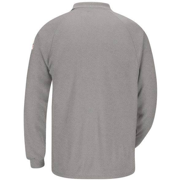 Bulwark FR Cooltouch 2 Long Sleeve Polo Shirt SMP2 Gray Back