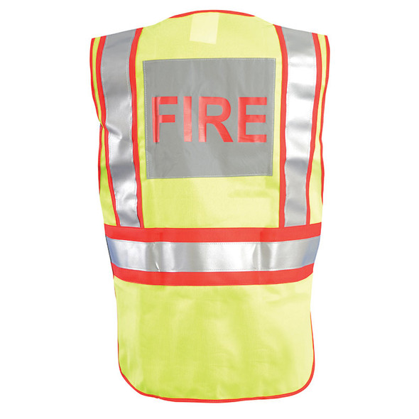 Occunomix Class 2 Hi Vis Yellow Pre Printed Fire Fighter Public Safety Vest LUX-PSF Back